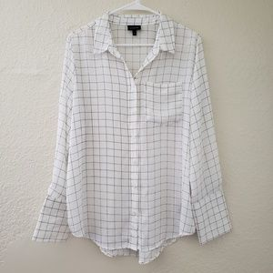Long Sleeve Silky Button-Up Blouse Black/White L